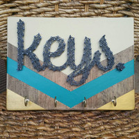 Hand Painted Chevron Gold Teal and Cream Keyholder, Housewarming Gift, Rustic Home Decor Key Hanger, Made to Order