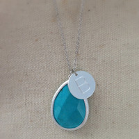 Silver Plated Custom Initial Stone Drop Long Necklace for Mother or Grandmother