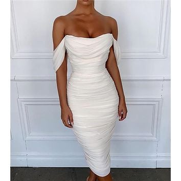 Women's Sexy Tube Top Backless Dress Skirt Long Off-Shoulder Slim Solid Color Dress