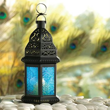 Azure Glass Moroccan Candle Lantern - 10 inches