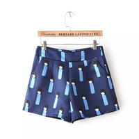 Patterned Pleated A-Line Shorts With Pockets