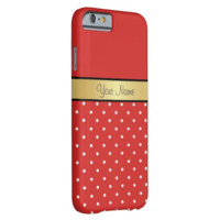 Gold Monogram On Chic Tomato Red, White Polka Dots Barely There iPhone 6 Case