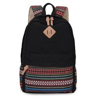 Hynes Eagle Lightweight Fashion Canvas Backpacks (Black)