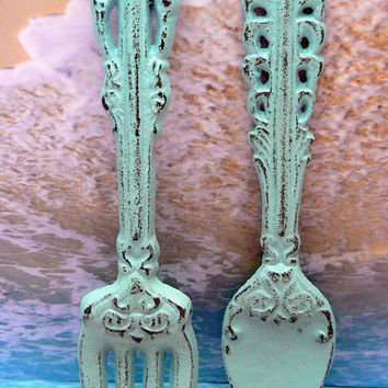 Fork Spoon Set Wall Decor Shabby Chic Beachy Cottage Chic Blue Weathered Distressed Kitchen Home Decor Oversized Country Chic Wall Art