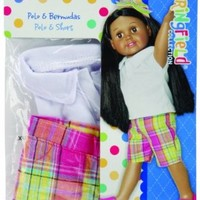 The Springfield Collection by Fibre-Craft Polo/Bermuda's for Doll, Lavender Plaid
