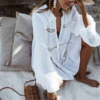 2019 Women Swimsuit Cover Ups Boyfriend Style Dress Pagoda Sleeve Solid White Cotton Beach Wear Sexy Summer Dress Cover Ups