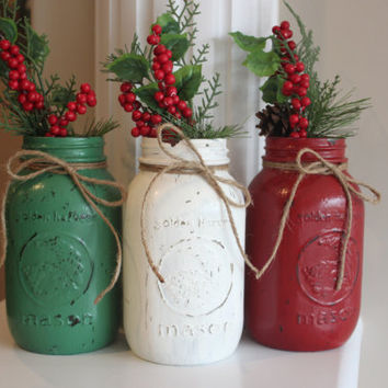 Rustic Christmas Decorations, Christmas Centerpieces, Distressed Mason Jars, Shabby Chic, Hostess Gift, Teacher's Gift, Country Christmas