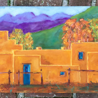TAOS ADOBE, 14 x 18 - New Mexico, Purple Mountains, Turquoise - Original Oil Painting - Western - Landscape - Home Decor - Southwest Art