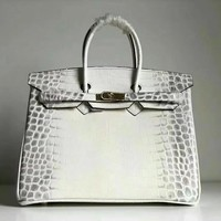 Beauty Ticks Hermes Women's Crocodile Leather Birkin Handbag Inclined Shoulder Bag #680