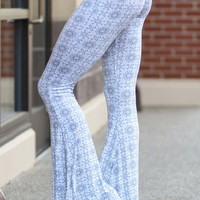 Flirt With Me Grey Bohemian Printed Palazzo Pants
