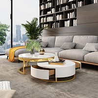 Coffee Table with Storage Lift-Top Wood with Rotatable Drawers