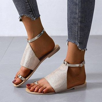 Summer new women's shoes all over toe high top sandals bright leather fashion beach shoes