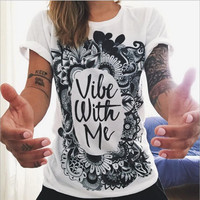 """""""Vibe with me"""" Letter and Paisley Print Short Sleeve T-Shirt"""