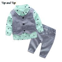 Top and top spring autumn baby boy clothing sets gentleman baby boy clothe new style baby born 3pcs casual  toddler clothes sets