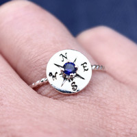 Birthstone Compass Ring, Sterling Silver Ring, Silver Stacking Ring, Nautical Jewelry, Compass Rose