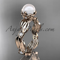 14k rose gold diamond pearl vine and leaf engagement ring AP58