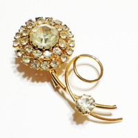 Vintage Rhinestone Flower Pin Brooch, Daisy, Goldtone, Long Stem, Mother's Day Gift, Small, Bridal, 1950s: