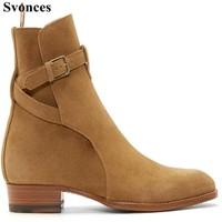 Svonces Big Size Italian Fashion Chelsea Boots Tan Suede Kanye West Wear Boot Real Leather Luxury Brand Men Shoes Bootie Winter