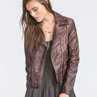 Sebby Faux Leather Moto Jacket Brown  In Sizes