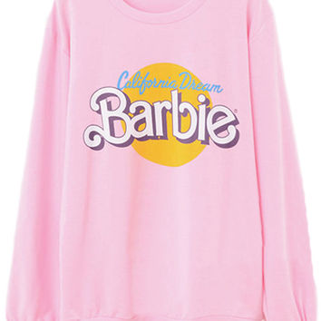 ROMWE | Barbie Printed Pink Pullover, The Latest Street Fashion