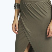 Milly Wrap Front Jersey Maxi Skirt
