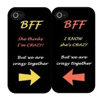 "BFF Quote ""She's Crazy"" Arrow Best Friends Set i5 iPhone 5 Hard Case"