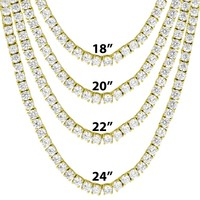 "14k Gold Tone 4mm Tennis Solitaire Necklace 18""-24"""