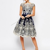 Chi Chi London Premium Metallic Lace Midi Prom Dress with Bardot Neck at asos.com