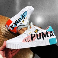 PUMA Cali flat shoes doodle cartoon alphabet casual sneakers sneakers tail Two color options