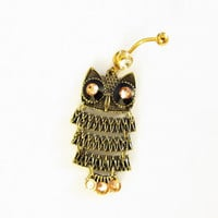 SALE--  Owl Vintage Retro Antique Bronze With crystal Gold Eyes, Belly Button Jewelry, For Women and Teens, Belly Ring For Women and Teens