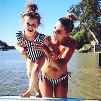 HOT 2018 Family Matching Women Mother Mom Kid Baby Girls Bikini Bathing Suit Striped Bandeau Bandage Ruffle Swimwear Swimsuit