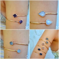 Upper Arm Cuff /// Lux Divine Double Druzy Gemstone Arm Wrap/// Gold