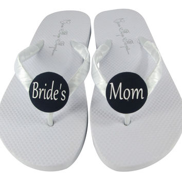 White with Black Bride's Mom Wedding Shoes, Flip Flop Sandals