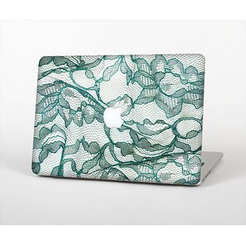 """The Gentle Green Wrinkled Lace Skin Set for the Apple MacBook Pro 15"""" with Retina Display"""