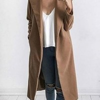 Khaki Lapel Long Sleeve Chic Women Wool Blend Coat