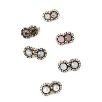 FOREVER 21 Faux Stone Encrusted Earrings Set Antic Gold/Rose One
