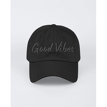 Good Vibes Black Graphic Text Style Yupoong Adult 6 Panel Structured Flat Visor Snapback
