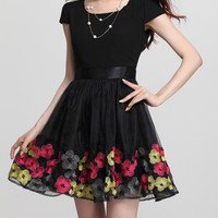 Black Floral Embroidered Ruffled Mini Dress