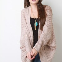 Cable Knit Dolman Sleeves Cardigan