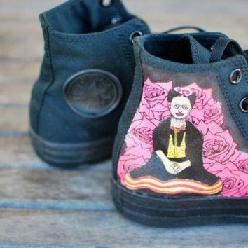 DCCK8NT hand painted frida kahlo converse chuck taylor hi top sneakers