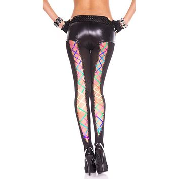 Rainbow Lace Up Black Pantyhose