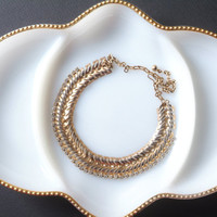 Vintage Chain Link necklace with Rhinestones, Gold Tone Choker Necklace, Snake Chain