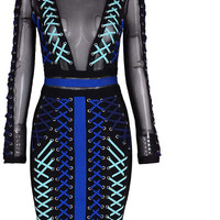 Blue Criss Cross Tied Patchwork Black Mesh Body-con Dress