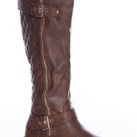 Forever Your Majesty Mango-21 Two Zipper Quilted Back Round Toe Riding Boots - Brown