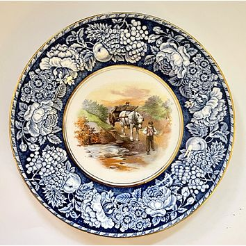 Blue  Transferware Plate w/ Hand Painted Horse & Cart scene