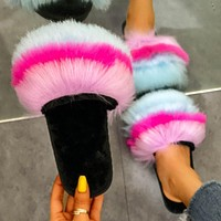 2020 new women's rainbow one-word drag flat-bottomed fur slippers shoes