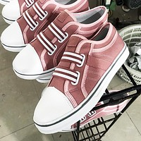 Fashion hot selling casual flat stretch shoes single stripe color canvas sneakers Pink