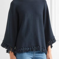 Chloé - Tassel-trimmed cotton and wool-blend sweater