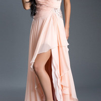 Black Label Couture 43 Chiffon One Shoulder Grecian High Low Evening Gown Prom Dress