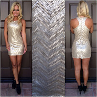 Gold Dust Sequin Mini Dress - GOLD